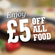 Get £5 off your food bill at O'Neill's Leicester